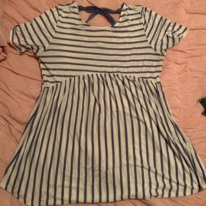Pink Blush striped Peplum maternity top size L
